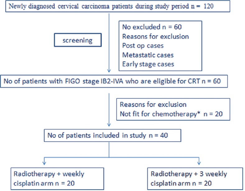 Figure 1: Study plan *see text for details. CRT = Chemoradiation; FIGO = International Federation of Gynaecology and Obstetrics